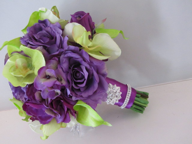 Real Touch Silk Bridal Bouquet - Purple And Green Orchids, Calla ...