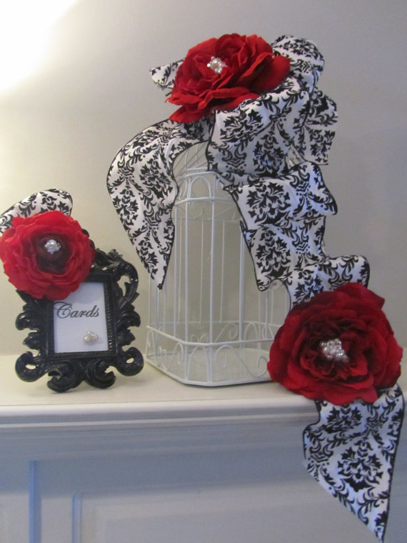 Wedding Birdcage Card Holder Red Roses With Black And